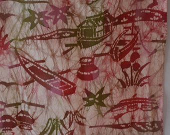 Pink silk fabric remnant; vintage Japanese kimono fabric #6