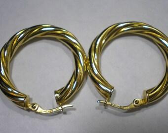 Vintage 14k Yellow Gold Twisted Hoop Earrings