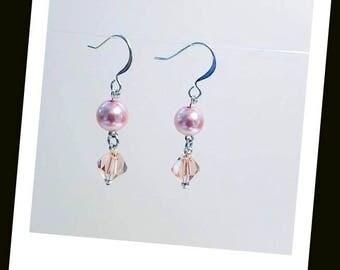 Pink Crystal Pink Pearl Swarovski Earrings  Hypoallergenic Earrings Nickel Free Earrings Pearl and Crystal Earrings Pearly Earrings