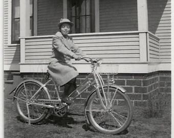 Old Photo Girl wearing Coat and Hat on Bicycle 1930s Photograph Snapshot vintage Bike