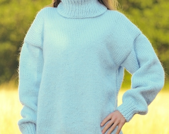 Blue wool sweater hand knitted turtleneck jumper by SuperTanya