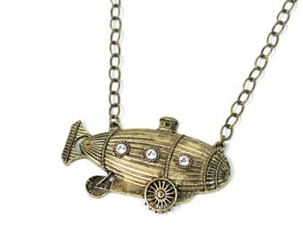 Antique Bronze Steampunk Airship Submarine Necklace with Crystals
