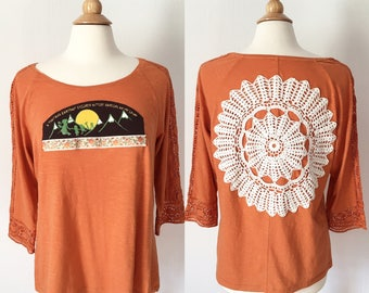 Phish inspired Down with Disease orange crochet festival top crochet applique Size Large - upcycled Phish t-shirt - Phish Top bakers dozen