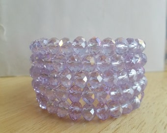 5 Row Memory Wire Cuff Bracelet made with light Orchard  Crystal Beads