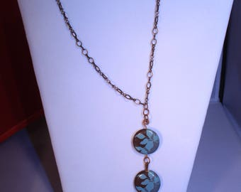 Blue Decoupage Necklace