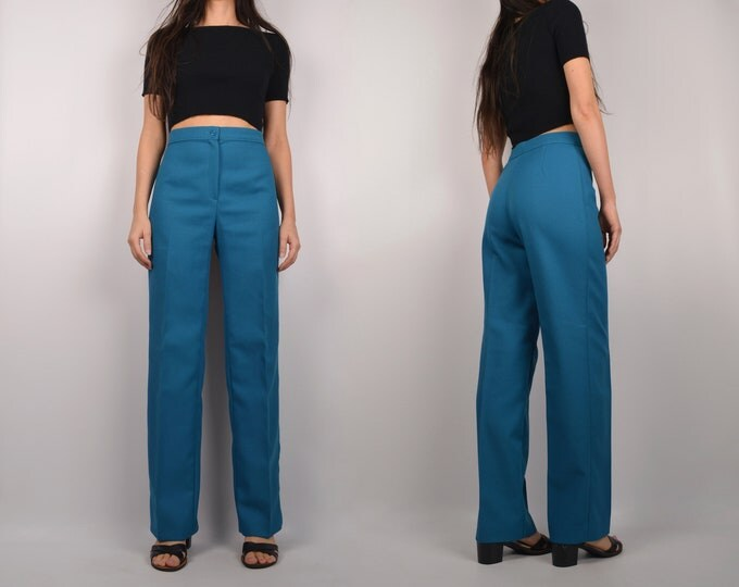 "70's High Waist Teal Trousers / 27""W"