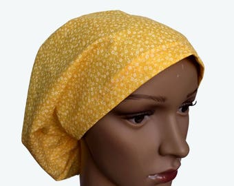 Euro Scrub Hat - Beautiful White Flowers on Yellow Scrub Hat for women - Slouchy hat with Small White Flowers