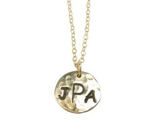 3 Initial Charm on 1/2 inch Disc Necklace