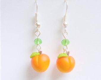 Food Jewelry Peach Earrings, Peach Jewelry, Fruit Earrings, Fruit Jewelry, Mini Food Jewellery, Polymer clay food, Miniature Food, Georgia