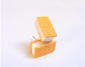 Food Jewelry  ice cream earrings, ice cream sandwich, Miniature Food Jewellery, Mini Food Earrings, Ice cream jewelry kawaii earrings slider