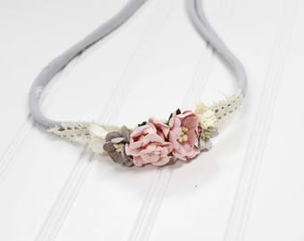Chic in Pink - headband in dusty pink, blush, cream and grey (RTS)