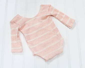 Simply Sweet - newborn long sleeve romper in a beautiful peachy pink and cream stripe sweater knit (RTS)
