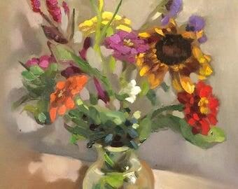 """flower in vase painting original oil 9x12"""""""