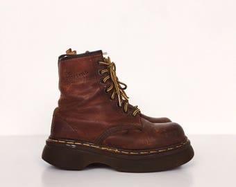 RARE Platform Chunky Heel Doc Marten Classic Brown Suede Lace Up Combat Boots // Women's size UK 4 US Women's 6 6.5