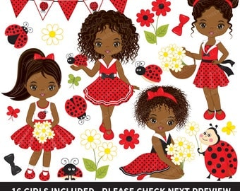50% OFF SALE African American Ladybug Clipart - Vector Ladybird Clipart, Ladybug Girl Clipart, Ladybug Clipart, Ladybug Girls Clip Art