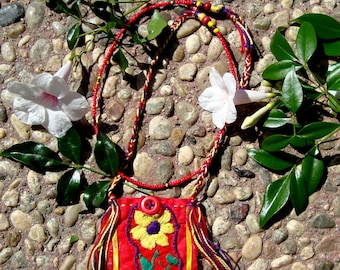 Colorful Festival Handmade Mexican Folk Hippie Beaded Embroidered Stash Pouch Bag Necklace