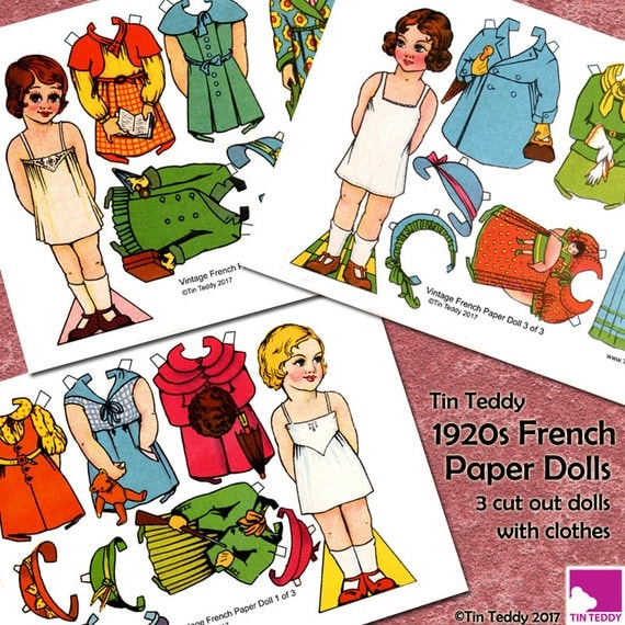 Tin Teddy 1920s French Paper Dolls