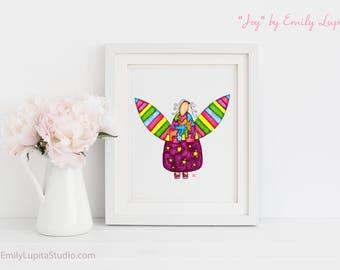 Art Print / Painting Card Invitations Stationary  / Nursery Children Baby Girl's Room / Angel Wings Inspirational Wall Art / Joy