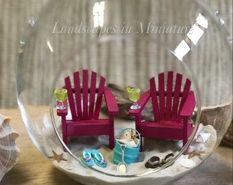 BEACH TERRARIUM Kit - TWO Beach Chairs, 2 Miniature Drinks, Flip Flops, Miniature Bucket of Real Seashells- by Landscapes In Miniature