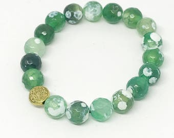 Agate green beaded bracelet | Jewels by Crys