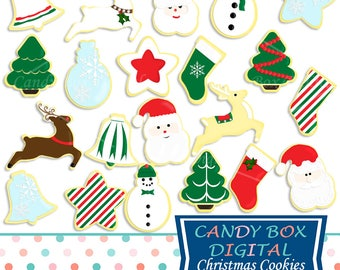 Christmas Cookie Clipart, Holiday Clip Art - Commercial Use OK