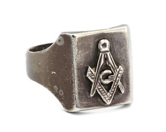 Masonic Lodge Ring, Large Mens Ring, 925 Sterling Silver, 70s Wide Band Ring, Masonic Signet Ring, Carpenter Architect Symbol, Ring Size 10