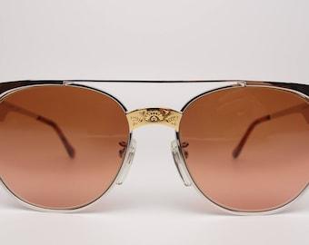 Rare Vintage Serengeti Drivers 5294R Western Sunglasses Silver Gold Tone Metal Corning Optics Copper Mineral Glass Photochromic Round Square