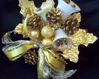 Vintage Christmas Corsage Pine Cones Mercury Balls Sugar Bells Gold Leaves circa 1950's