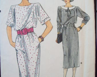 Straight Dress with Blouson Bodice 1980s Very Easy Very Vogue Pattern 9281 Uncut Size 12-14-16