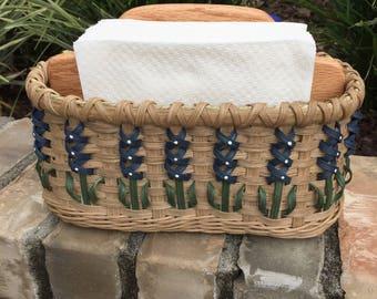 Texas Bluebonnet Napkin Basket Handwoven Basket Handmade Basket Made in USA Bluebonnet Item Texas Bluebonnets Bluebonnet Basket
