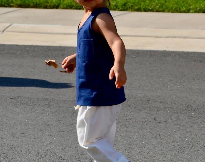Unisex Slouch Pant, White, Organic cotton, Boys clothing, Toddler pants, Baby clothing