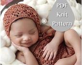 PDF Knit Pattern #0080 The Brailey Knit Bonnet Newborn Knit Pattern PDF Tutorial Intermediate Instruction Newborn Photography Prop Dk Yarn