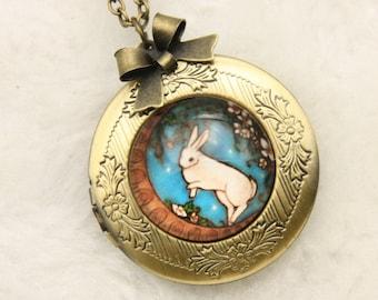 Necklace locket photo rabbit and moon 2020m