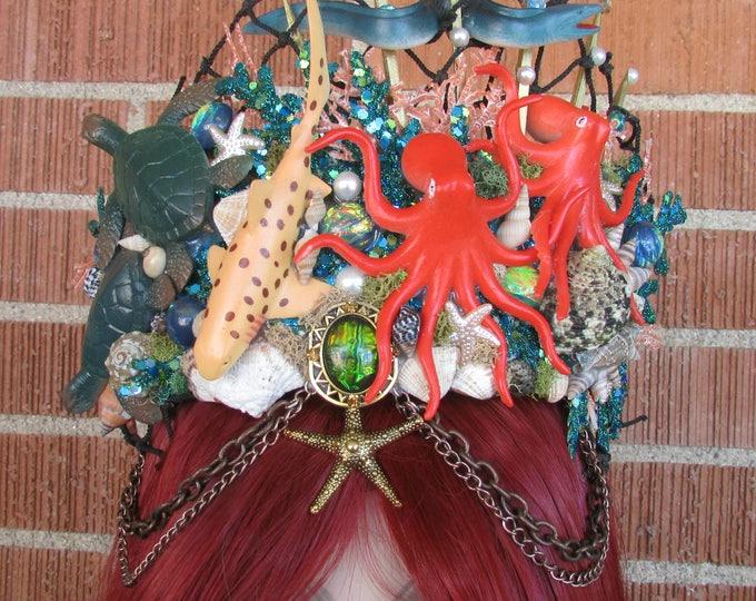 Mermaid Crown, Sea Creature Crown, Mermaid Headband, Mermaid Headdress, Shell Crown, Mermaid Costume, Cosplay, Mermaid Tiara, Seashell Tiara