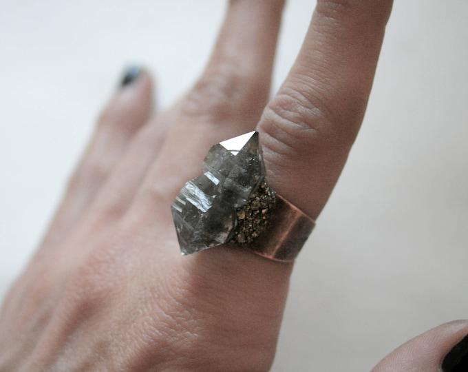 Tibetan Smoky Quartz Scepter Crystal Ring