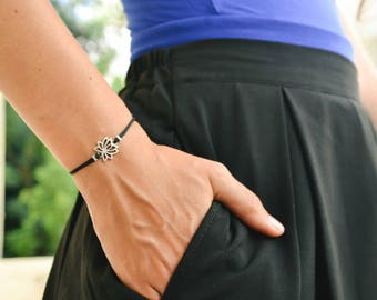 Lotus bracelet, charm bracelet, silver lotus, buddhist symbol, black, adjustable sliding knot, zen, flower, spiritual yoga jewelry
