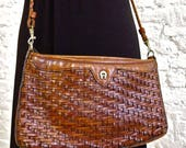 RESERVED - 80s Etienne Aigner Woven Leather Cross Body Bag