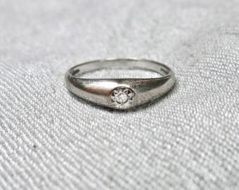 50's Diamond and 14K White Gold Solitaire Ring
