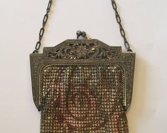 Antique 1920s Whiting and Davis Widly Deco Enamel Mesh Purse