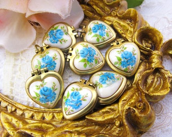 Vintage Brass Heart Locket Set with Aqua Blue Rose Cabochon Cameo Charms - 2