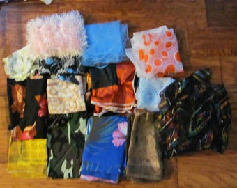 Scarf Lot of 15 Vintage Scarves - Assorted Colors Sizes Fabrics (10J)