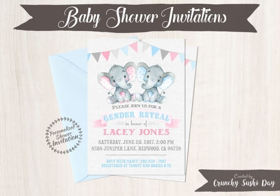 Gender Reveal Elephant Baby Shower Invitations, Printable Invitations, Safari, Jungle, Elephant, Boy or Girl, Pink or Blue, Nursery, 012