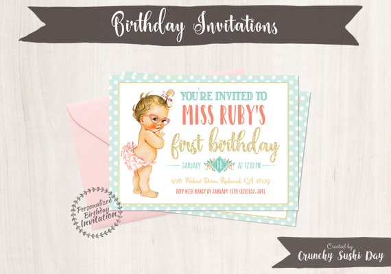 Vintage Mint Baby Girl Birthday Invitations, Retro, Girl Birthday Invitations, First Birthday, Printable Invitations, Baby Girl, Coral 102