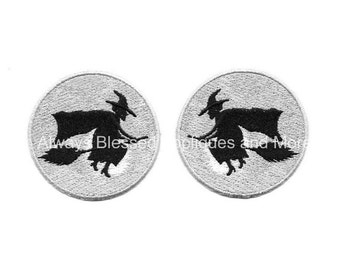 Witch - Halloween - Full Moon - Embroidered Iron On Applique Patch - Set Of 2