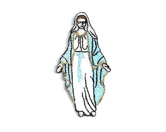 Mary - Blessed Virgin - Mother Of God - Embroidered Iron On Applique Patch