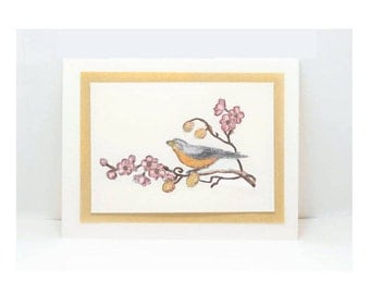 Set of 5 Bird Cards, Blank Card, Blank Greeting Cards, All Occasion Cards, Note Card, Any Occasion Card, Floral Card, Flowers Greeting Card