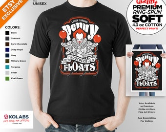 T Shirt of penny rootbeer floats horror clown inspired by it art clothing design for Men and Women by Kolabs Studios