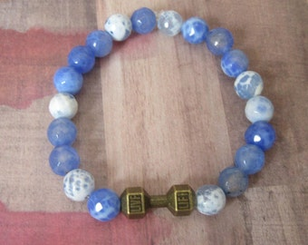 Fitness, Brass Gym Barbell Stretch Beaded Bracelet with Periwinkle Agate Beads