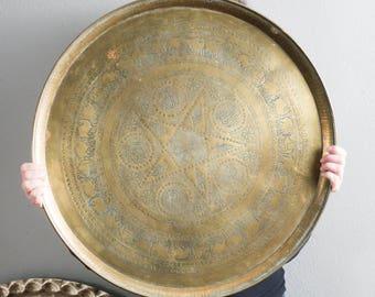 """Vintage 22.75"""" Brass Round Serving Tray Decorative"""