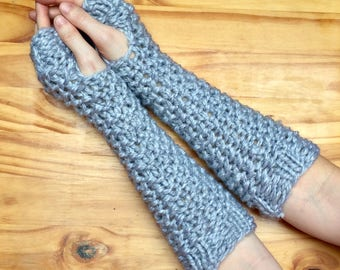 Chunky Knit Wool Arm Warmers Knit Fingerless Gloves ||  Pewter